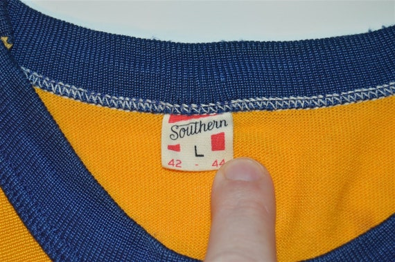 50s Southern Athletic Gold Blue Rayon Jersey t-sh… - image 2