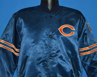 80s Chicago Bears NFL Satin Snap Up Jacket Large