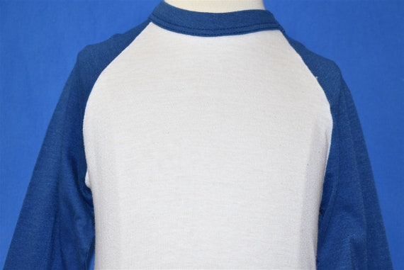 80s Blank White and Blue Raglan t-shirt Youth Smal