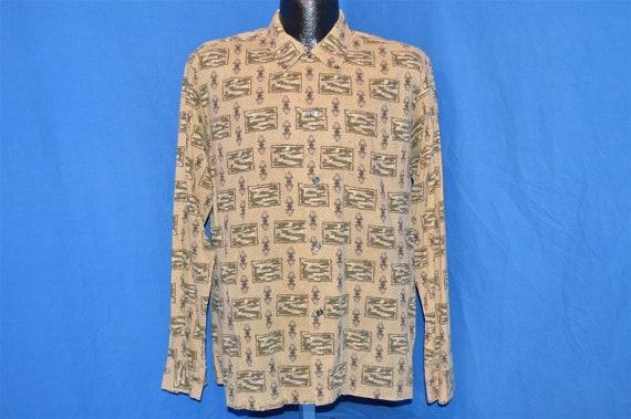 50s Pilgrim Novelty Print Rockabilly Shirt Large - image 2