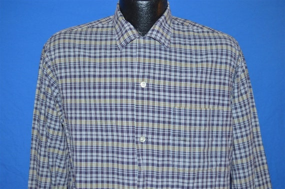 50s Vardon Gold Blue Yellow Plaid Shirt Medium