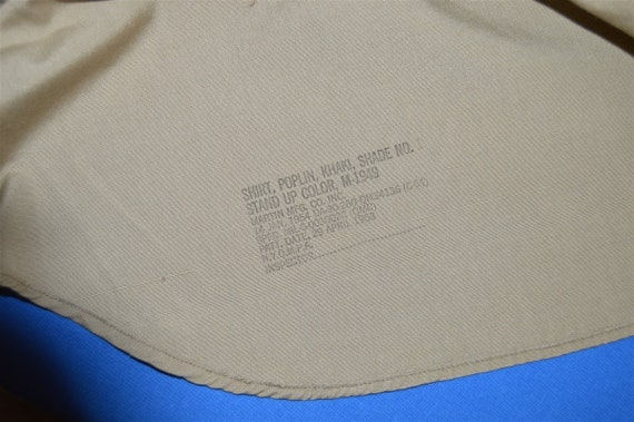 50s Khaki Military Work Shirt Button Down Pocket … - image 4
