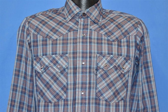 80s Levis Blue Red Silver Western Plaid Pearl Snap