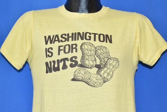 70s Washington is For Nuts Peanuts Funny Yellow t-