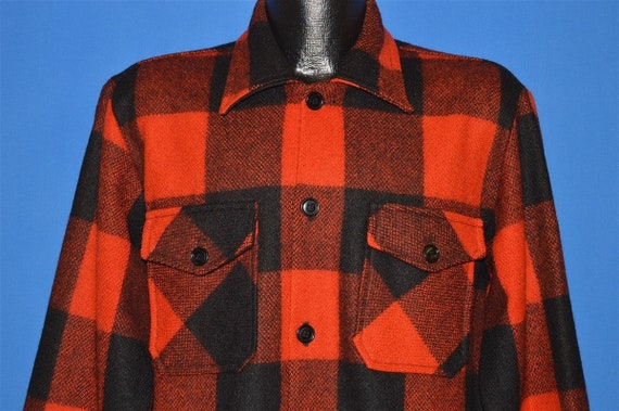 60s Checkered Button Up Wool shirt Large
