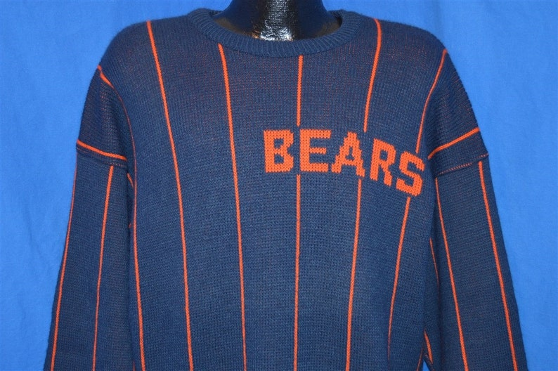 separation shoes f9f4f 90d52 80s Chicago Bears Striped Cliff Engle Navy Blue Orange Vintage Sweater  Medium