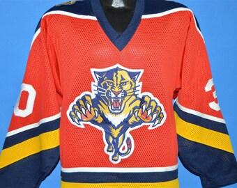 Vintage 1990's Florida Panthers John Vanbiesbrouck #34 Hockey Jersey Medium Starter NHL Stanley Cup The Beezer VBK Red White Navy Blue 7Rioec