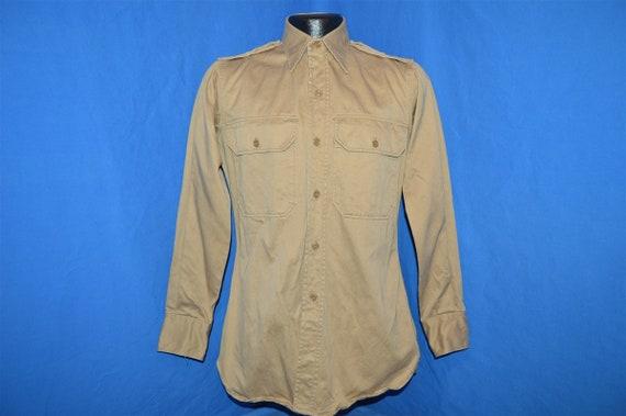 50s Korean War Khaki Military Uniform Shirt Medium - image 2