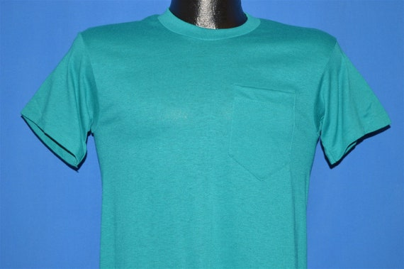 80s Teal Blank Pocket t-shirt Small
