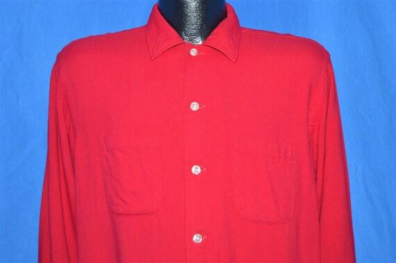 50s Kentcrest Red Rayon Flannel Shirt Medium