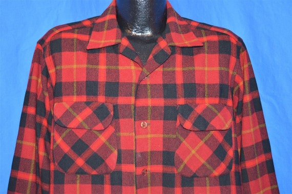 60s Pendleton Wool Loop Collar Plaid shirt Large