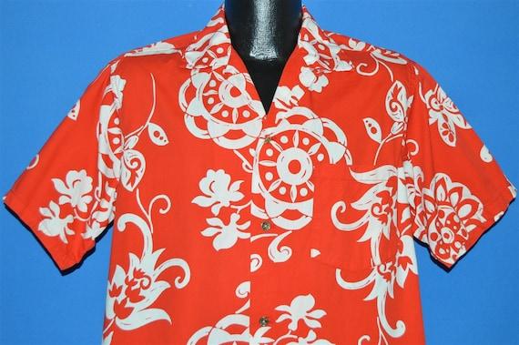50s Red White Aloha Hawaiian shirt Large