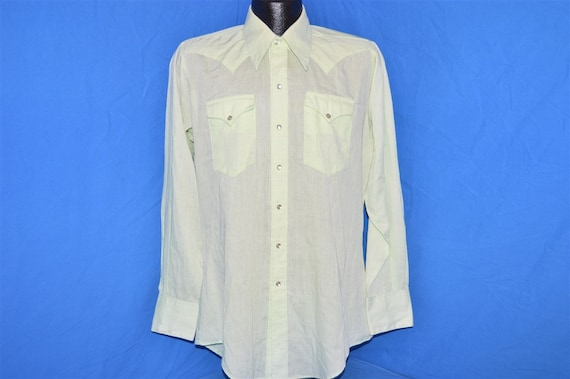 70s Rockmount Green Pearl Snap Shirt Medium - image 2