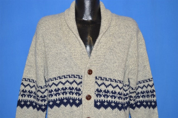 80s Shawl Collar Wool Cardigan Sweater Medium