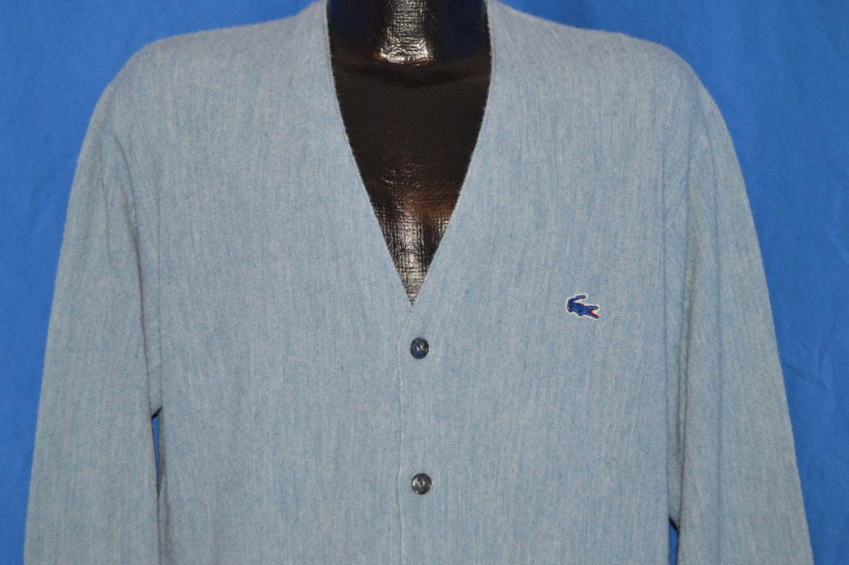 399c53d896 70s Izod Lacoste Heathered Blue Vintage Cardigan Sweater Large
