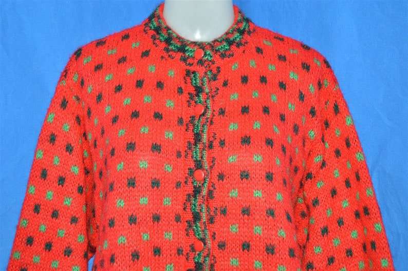 bd6f704ffca 80s Benetton Red Wool Vintage Cardigan Sweater Women s