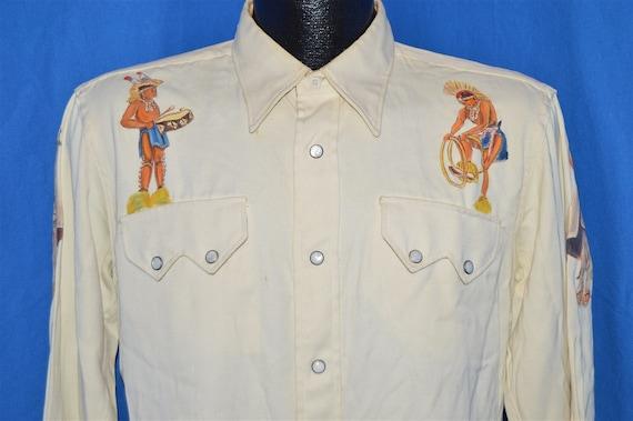 40s Tanbrook Native American Painted Pearl Snap Sh