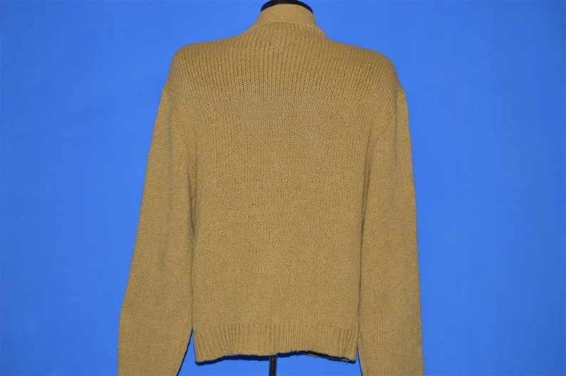 60s Cable Knit Wool Suede Cardigan Sweater Medium