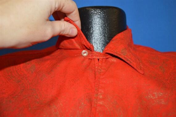 60s Sears Red Gold Loop Collar Hawaiian shirt Med… - image 4
