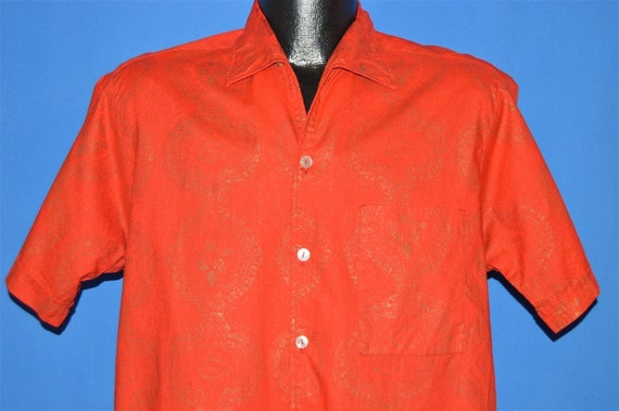 60s Sears Red Gold Loop Collar Hawaiian shirt Medi