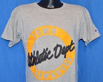 80s Iowa Hawkeyes Athletic Department Champion Cotton Rayon Heathered Gray Vintage t-shirt Medium