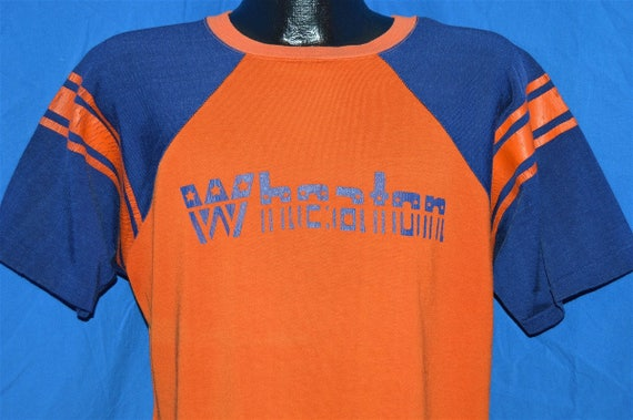70s Wheaton Orange Blue Rayon Jersey t-shirt Large