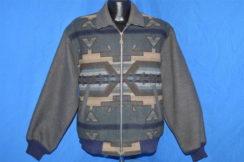 90s Pendleton Gray Native American Geometric Bomber Wool Jacket Medium Vintage