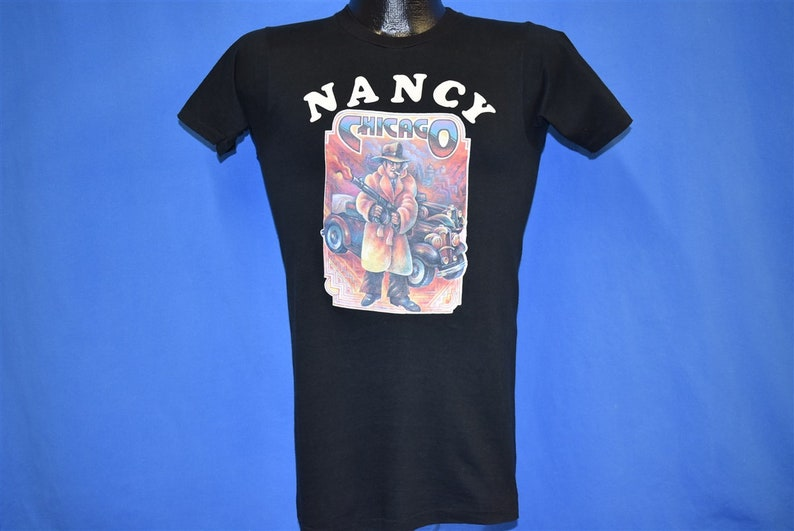 70s Chicago Nancy Iron On Mobster Gun Smoke Black Soft t-shirt Extra Small