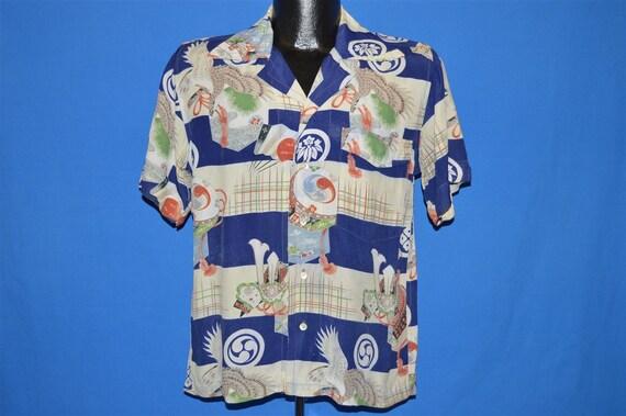 50s Bird Print Rayon Aloha Hawaiian Shirt Medium - image 2