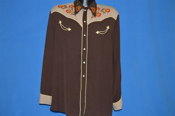 50s Embroidered Pearl Snap Western Shirt Extra La… - image 2