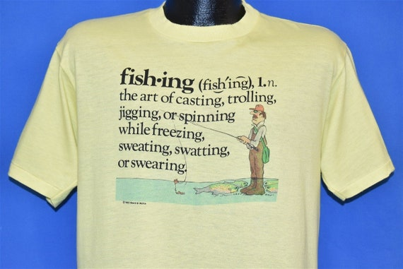 80s Fishing Definition Funny t-shirt Large