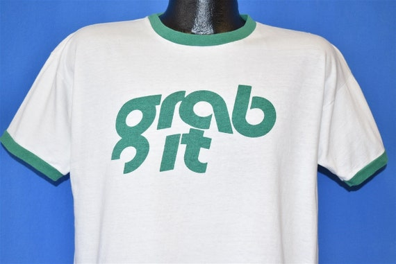 70s Grab It Ringer Blue Bar Champion Ringer t-shir