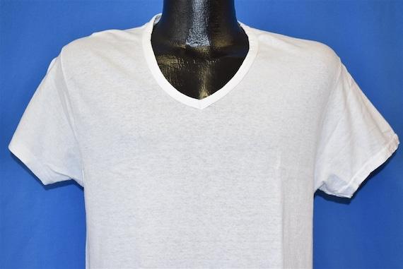 70s Plain White V-Neck Hanes Blank t-shirt Medium