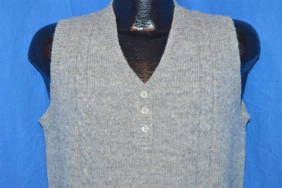 80s LL Bean Gray Vintage Shetland Wool Cable Knit