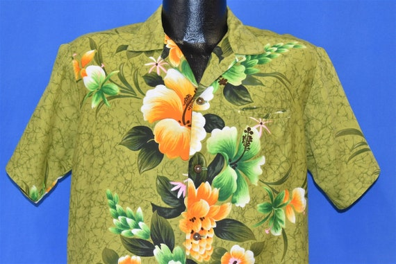50s Reef Hibiscus Aloha Hawaiian Shirt Medium
