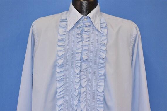 70s Tuxedo Men's Blue Ruffled Polyester Dress Shir