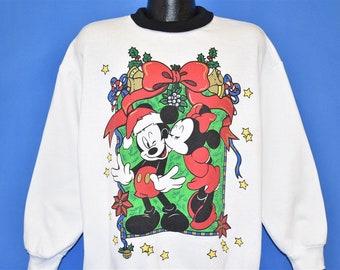 90s Mickey Minnie Mouse Mistletoe Kiss Christmas Sweatshirt XXL Vintage