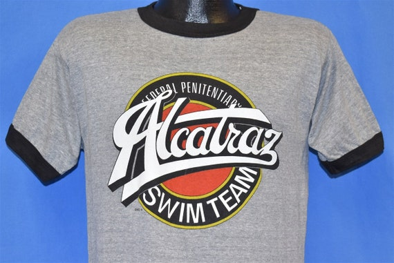 80s Alcatraz Penitentiary Swim Team Funny Ringer T