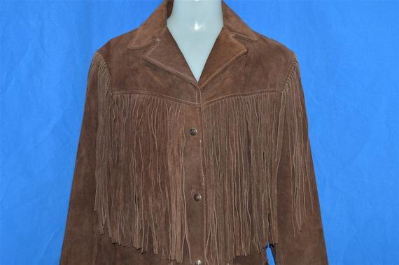 70s Fringe Suede Leather Jacket Women's Medium