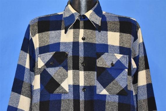 40s Big Yank Blue Cream Plaid Wool Workwear Button