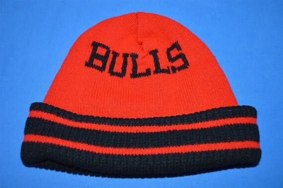 14f46f763de 80s Chicago Bulls Red Black Vintage Beanie Winter Hat