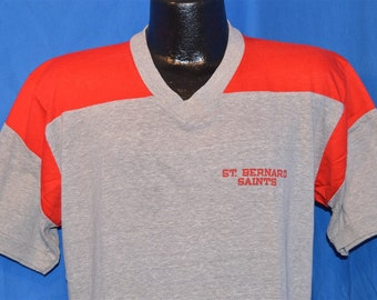 80s St. Bernard Saints Red and Heathered Gray Raglan Sleeve Vintage Jersey t-shirt Large