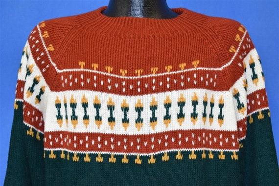 80s JC Penney Red Green Geometric Snowflake Pullov