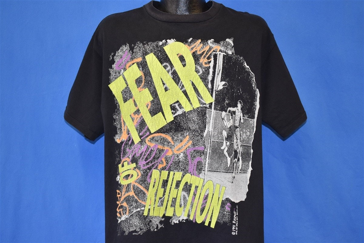 90s Fear Of Rejection Basketball Neon Spray Paint T-shirt Extra Large Unisex Tshirt
