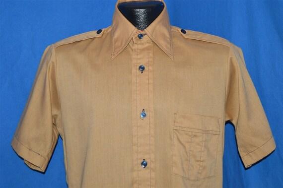 70s Brown Big Collar Shirt Small