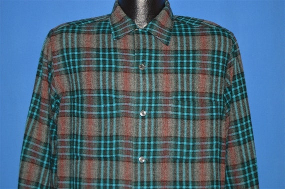 50s Penney's Towncraft Shadow Plaid Wool Shirt Med
