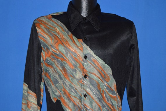 70s Hutspah Acetate Wrap Around Print Disco shirt