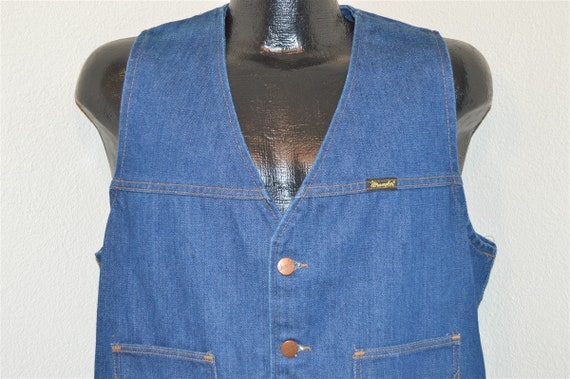 70s Wrangler No-Fault Denim Vest Medium