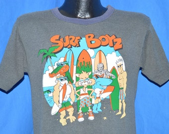 80s Surf Boyz Cartoon Surfers Gray t-shirt Small