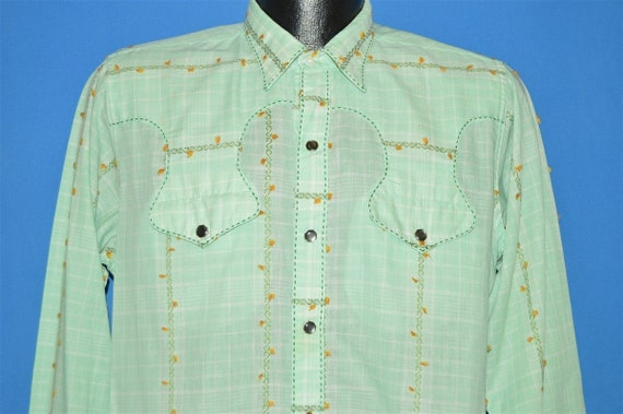 50s Rockmount Green Floral Cowboy Shirt Large